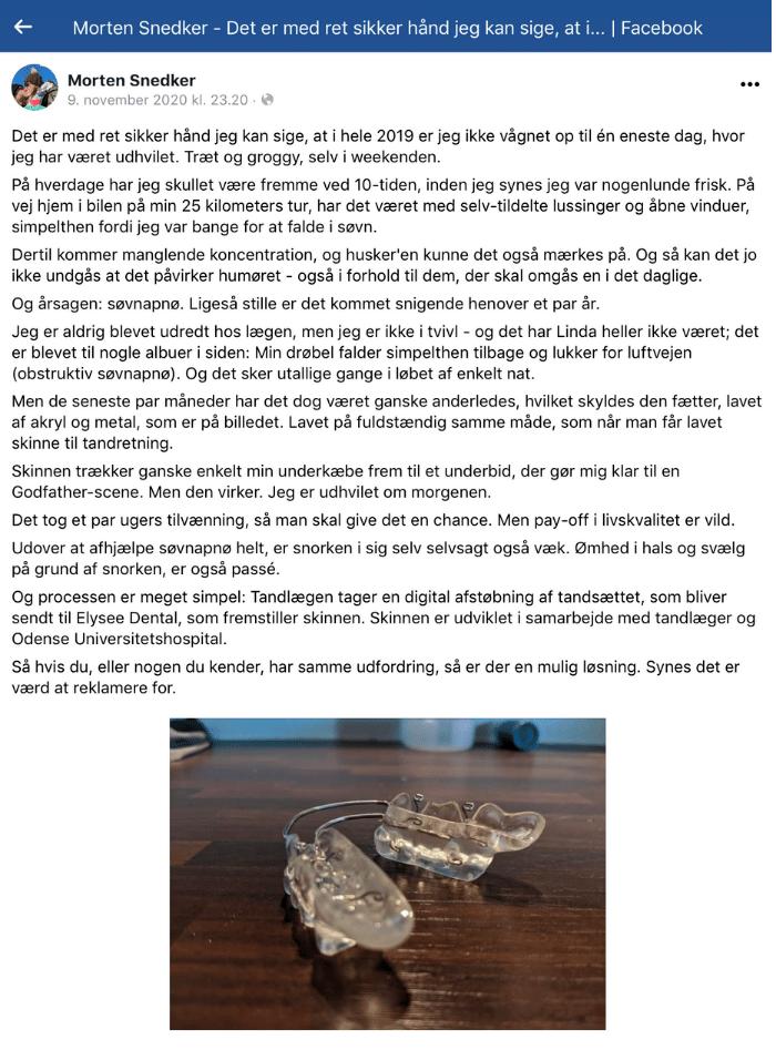 Morten Snedker fortæller om hvordan snorkeskinnen har hjulpet ham